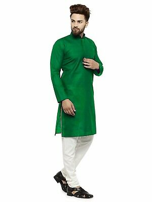 Indian Solid Men's Shirt Kurta Green kurta 100% Cotton Top Tunic Shirt Plus Size