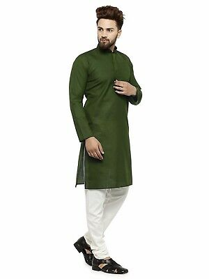 Indian Shirt Kurta Green kurta 100% Cotton Solid Men's Shirt Top Tunic Plus Size