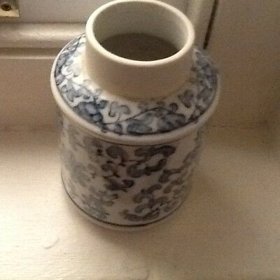 Vintage Chinese blue & white vase/ caddy  and bowls