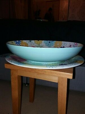 Portmeirion Crazy Daisy large footed bowl 32cm diameter - used but VGC