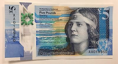 RBS Polymer £5 Note AA01 LOW Serial Number