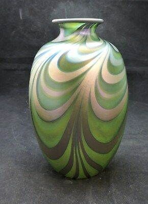 "Signed Charles Lotton 1985 Pulled Decoration Vase-7"" Tall"