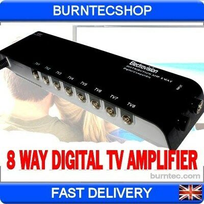 Electrovision Platinum Outlet Aerial Signal Amplifier TV FREEVIEW 8 WAY DIGITAL