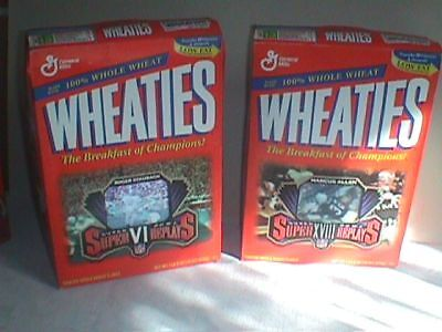 WHEATIES CEREAL BOX Set FOOTBALL Super BOWL Marcus ALLEN Roger STAUBACH 1997