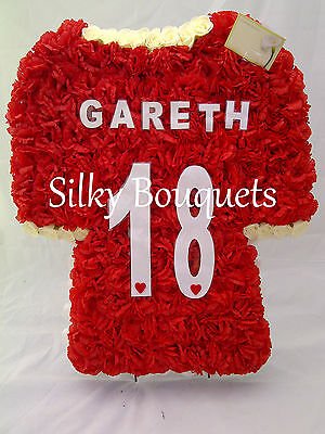 Artificial Silk Funeral Flowers Football Shirt Wreath Grave Tribute