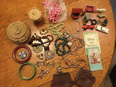lot of Vtg jewellery and other bits and bobs , toys , purses, basket,