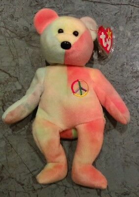 Peace Bear pastel coloured ty Beanie Babies 1996 made in Indonesia