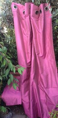Pair Of Next Girls Pink Purple Plum Eyelet Curtains Set 134Cm W By 188Cm L