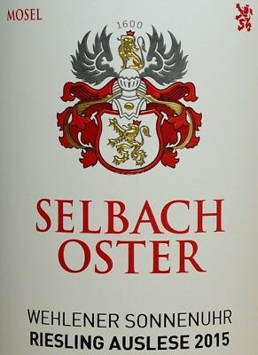 3x 2015 Selbach-Oster Wehlener Sonnenuhr Auslese 95 Parker Riesling Mosel 0,75l