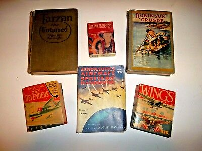 lot of 5 old books,aircraft spotters, wings,robinson crusoe,tarzan