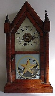Antique Gothic E.N. Welch 30 hour Steeple Alarm clock With Key. 1811‑1892