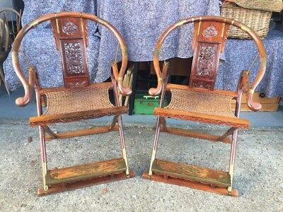 2 Oriental Chinese Huanghuali Style Folding Armchairs with Brass Mountings