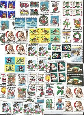 100 Mixed Lot Of Vintage Christmas Seals...all New..santa Claus..gifts, Cards,,e