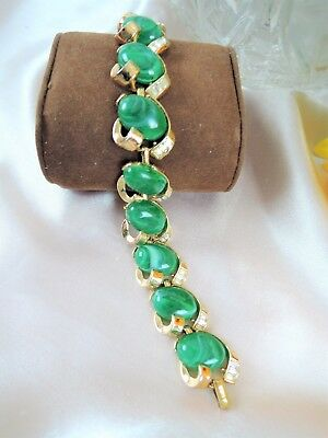 VINTAGE CROWN TRIFARI BAGUETTE RHINESTONE & GREEN MARBELED ThermoSET BRACELET
