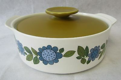 Vintage 1960s J&G Meakin Studio Topic Large Casserole Dish Tureen Lid Blue Green
