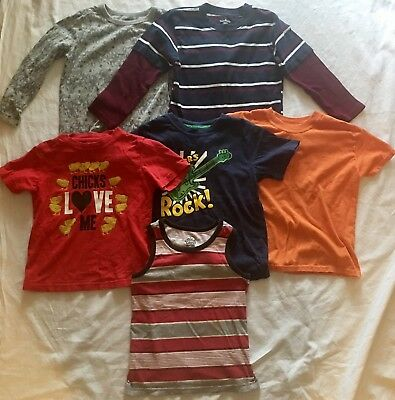 Toddler Boys Size 5T Shirt Lot 6 Pieces Old Navy Carters Long Sleeve T Shirts