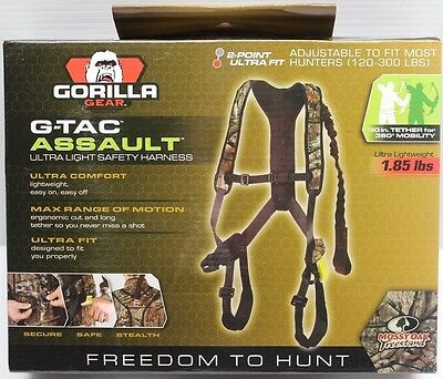 New GORILLA GEAR G-TAC Assault Ulta Light Adjustable Safety Harness MOSSY OAK
