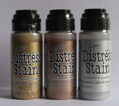Tim Holtz Distress Stains x 3 -Tarnished Brass, Antiqued Bronze & Brushed Pewter