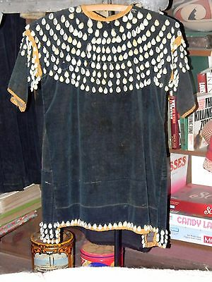 ANTIQUE PLATEAU / LAKOTA CHILD'S LITTLE GIRL DRESS with COWRIE SHELLS