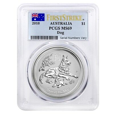 2018 1 oz Silver Year of The Dog Australia Perth Mint PCGS MS 69 First Strike