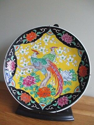 Japanese porcelain plate / charger  20th c birds hand painted