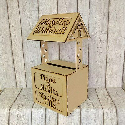 WISHING WELL, PERSONALISED MDF Wedding Card Box, Post Box