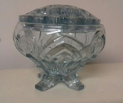 Sowerby Blue Pressed Glass Posy Bowl & Frog, pattern 2570