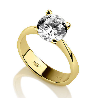 0.9 Carat Real Solitaire Round Cut Diamond 18K Yellow Gold Engagement Ring New