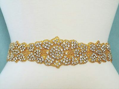 Wedding Sash Belt - GOLD CLEAR RHINESTONE Wedding Sash Belt = 21 1/2 INCH LONG