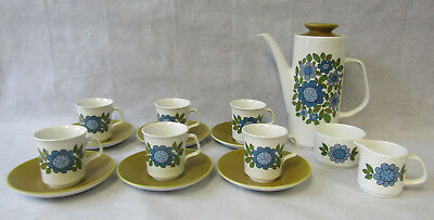 Vintage Retro 1960s J&G Meakin 15 piece Studio Coffee Set Topic Blue White Green