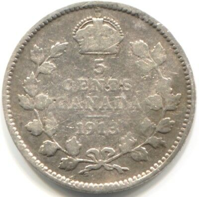 1913 CANADA SILVER FIVE CENTS Coin