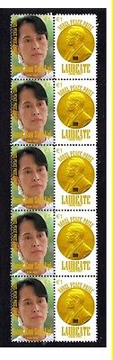Aung San Suu Kyi Nobel Peace Prize Strip Of 10 Stamps 5