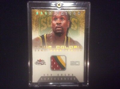 2001-02 Fleer Force #tc-Gp Gary Payton 4-Color Jersey Patch Ssp 47/50 Sonics Wow