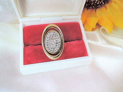 VINTAGE signed PANETTA SIZE 7 LADIES PAVE' SET RHINESTONE RING*GOLD PLATED*WOW!