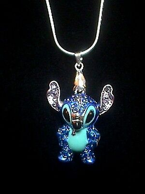 """Disney Crystal Covered 3-D Stitch 18"""" Necklace"""