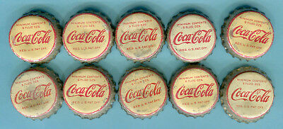 10-LOT of OLD USED COCA COLA SODA BOTTLE CAPS <> Used Cork Lining Caps