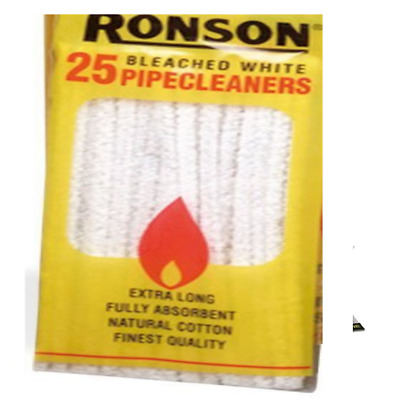 25 RONSON Pipe Cleaners Natural Cotton Cleaning Cloth Cleaner