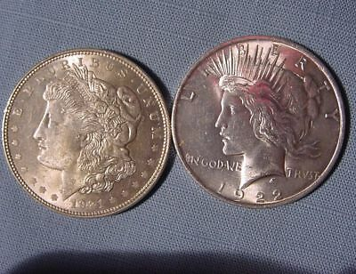 Nice Lot of 2 Different Type Silver Dollars - 1921 Morgan & 1922 Peace