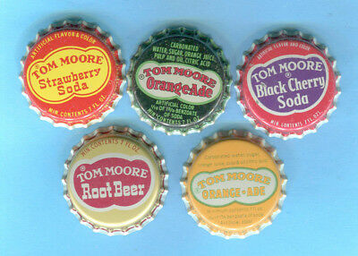 5-LOT of DIFFERENT UNUSED TOM MOORE SODA BOTTLE CAPS by COCA COLA COMPANY