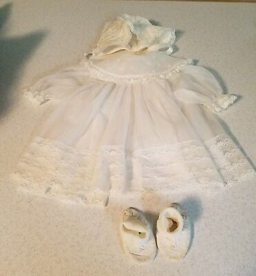 Vintage Madonna Baby/Infant Christening 2 Dresses Hat Booties See Cond.