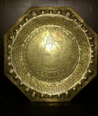 ANTIQUE INDIAN/ PERSIAN ENGRAVED Octagonal BRASS TRAY ARABIC