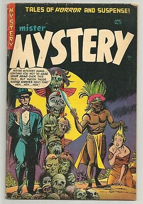 Mister Mystery # 17 (1954) CLASSIC Totem Pole of HEADS cover by Bernard Baily!