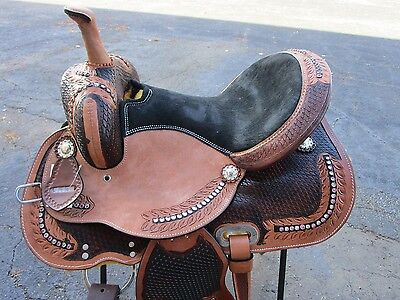 15 16 Barrel Racing Show Cowboy Trail Floral Tooled Leather Western Horse Saddle