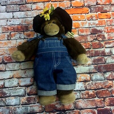 VTG Build A Bear 1997 Overalls And Sunhat Monkey16""