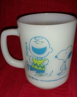 Vintage Mug Snoopy and Charlie Brown 1958 Anchor Hocking, 'I feel confident'