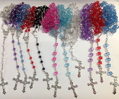 Small glass bright faceted glass rosary beads with silver  filigree Catholic