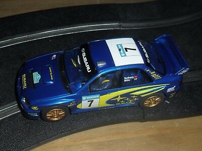 Scalextric vintage Subaru Impreza WRC rally / touring car # 7 Superb with lights