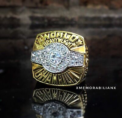 RARE Mike Tyson Championship Ring 18K Gold Plated Hall Of Fame silvr Belt Design