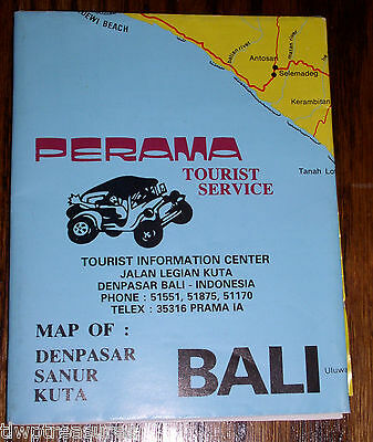 1980s Map of BALI from Perama Tourist Service