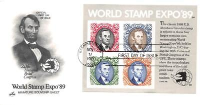 2433 90c World Stamp Expo S/S, First Day Cover Cachet [D278795]